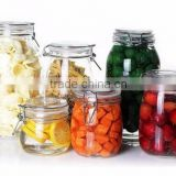 glass jar with sealed clamp lid