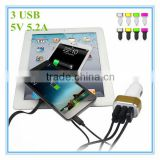 hot sale oem black and white with colorful aluminum ring led 3 port 5v 5.2a phone charging adapter