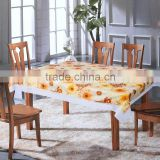 PVC/PEVA lace tablecloth with flannel backing, high quality & waterproof & oil proof