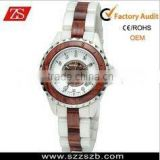 NEW HOURS CLOCK DIAL BEST LADIES FASHION RED WOODEN WITH CERAMIC-WHITE STEEL WRIST WATCH