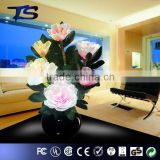 Decorative Color change Led fiber optic flowers /Pink Penoy flower lampe with metal base for whole sale