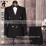 custom made hand work frock double breasted 100wool fabric brand three colors black royal navy blue 2 piece work party mans suit