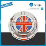 wholesale glass photo ashtray with show box printed flag cigar ashtray clear gift ashtray