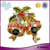 Best Christmas gift gold plated zinc alloy rhinestone epoxy small bell brooch