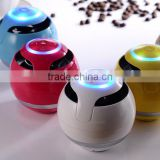 Ball shape design hands free call portable mini bluetooth speaker with LED lighting, aux line in and TF card slot