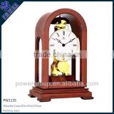 White Dial desk clock with wooden case Brown color High quality Competitive price PW1135D