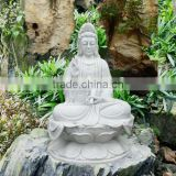Sitting Female Buddha Statue White Marble Stone Hand Carving Sculpture For Pagoda, Garden No 08