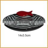 popular round ceramic pet bowl feeders with fish for cat bowls wholesale