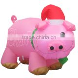 Giant inflatable pig with santa hat wholesale christmas decorations