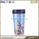 Double wall plastic coffee mug cup with paper insert                                                                         Quality Choice