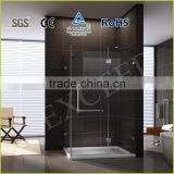 Frameless stainless steel support bar and handle brass hinge and clip shower screen EX-409
