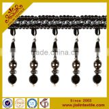 Tassel fringe rayon material acrylic bead curtain beaded fringe decorative trim for curtain