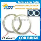 2016 hot selling 70MM 81 LED COB Chip SMD Car Angel Eyes Headlight Bright universal led ring