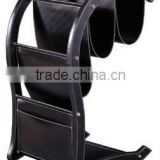 Black faux leather newspaper stand for office