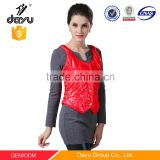 Garment stock lot down vest red padded vest quilted waistcoat for indoor woman vest Close-fitting wear