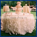 CL010A Cheap Hot sale elegant polyester blush pink curly willow fancy wedding frilly table cloths