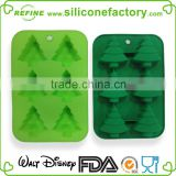 6 Christmas trees shaped with a hole for hanging platinum grade silicone bakeware