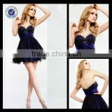 Wholesale Custom Made Mini Sweetheart Black Sequined Tulle Beaded Corset Homecoming Dress H0009