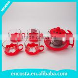 cheap red glass teapot sets with 4 cups and plastic holder