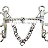 Stainless steel horse Pelham bit with hooks&curb chain,(Type-06)