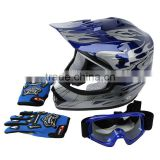 DOT Youth Blue Flame Dirt Bike ATV BMX Motocross Helmet w/ Goggles+gloves S M L