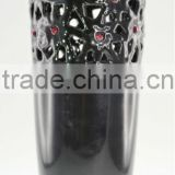 Ceramic Shinny Black Vase with Floral Pattern & Swarovski Crystals