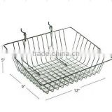 "New 12"" Wide Wall Mounted Slanted Chrome Wire Basket for Pegboard/Slatwall Displays"