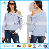 Womens Tops Fashion Autumn Ladies Blue Striped Fold Over Asymmetric Shoulder Long Sleeve Contrast Cuff Blouse