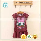Summer hot selling guangzhou wholesale price duck kid clothing set girls dress set new cartoon dress for children