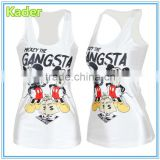 Plain white tank top for ladies with Mickey print