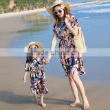 PJ0252A new bohemian long style the Family clothing skirt mother daughter matching dress