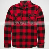 High Quality Customize Men Shirt Wholesale Plaid Flannel Shirt Red Black Chambray Long Sleeve Shirt