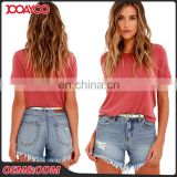 New Arrival Medium Wash Distressed Frayed Hems Ladies Pants Hot Designs Denim Women Shorts