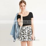 Custom Hot sale Young Pencil Girls Mini 3D Floral Pleated A-line Women Skirt