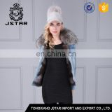 Fashion handsome ladies fur lined denim jacket,denim parka