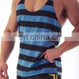 y back customized gym singlets - Y back singlet with stripes