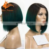 8Inch Bob Cut Wig Ombre Two Tone Color Silky Straitght 1BTGreen Short Glueless Human Hair Lace Front Wig For Black Women