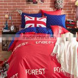Best fashion design bright color red cotton sheets good quality reactive printing no fading bedding set