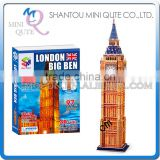 Mini Qute London Big Ben building block world architecture 3d paper diy model cardboard jigsaw puzzle educational toy NO.G168-10