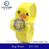 cute little yellow duck slap watch glass face quartz movt wooden bangle watch