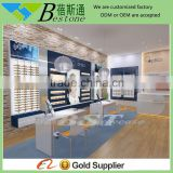 fashionable wooden wall mounted sunglass display rack for optical shop