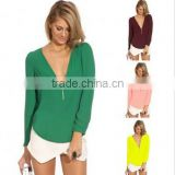 "Instyles <span class=""wholesale_product""></span> 4732 Women Blouse Deep V-Neck Casual Shirt Candy Color Chiff Clothing"