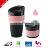 350ML / 12OZ Foldable, Collapsible, Heat Resistance, Soft, Travel coffee cup,Mug, BPA free, FDA, LFGB,Platinum silicone with pp                                                                         Quality Choice