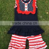 beautiful American Baby Girls July 4th Boutique Outfits Knit Cotton Patriotic Outfits Dot lace bib shirt