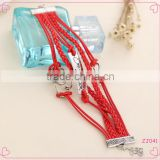 2015 latest fashion heart charms red braid leather wrap bracelet for women