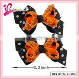 Super hot sale halloween hair accessories factory produce ribbon bow spider net halloween hair clip (XH12-1828)