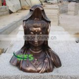 Bronze polished Guanyin bust statue