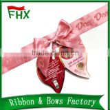 wholesale solid color logo design decorative satin ribbon gift bow with adhesive tape