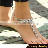 "TOP SELLING 12"" Bohemian Coin Sandal Bracelet with toe ring Beach anklets                                                                         Quality Choice"