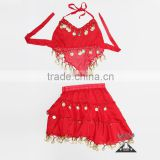 2pcs Top and Skirt Red India Kids Belly Dance Costume